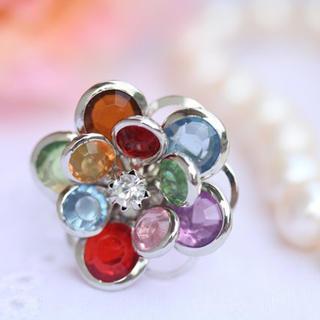 Colorful Flowers Diamond Ring