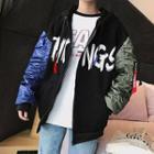Color Panel Lettering Hooded Zip Jacket
