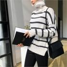 Turtle-neck Striped Knit Top Ivory - One Size