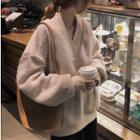 Oversized V-neck Fleece Top