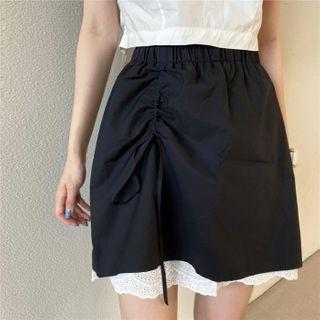 Asymmetric High-waist Drawstring Lace Trim Skirt Black - One Size