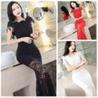 Short-sleeve Lace Panel Mermaid Evening Gown