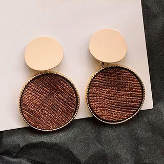 Disc Dangle Earring 1 Pair - Beige & Brown - One Size