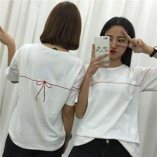 Bow Embroidery Short-sleeve Top