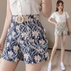 Belted Floral Print Shorts