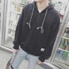 Drawstring Zip Hooded Pullover