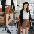 Constructed Pleated Woolen Shorts