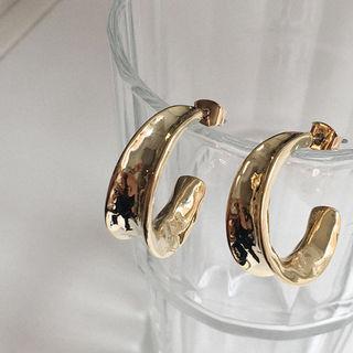 Metallic Thick Hoop Earrings