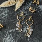 Faux Pearl Rhinestone Heart Dangle Earring