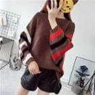 Batwing-sleeve Stripe-accent Sweater