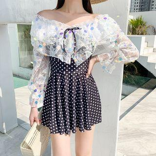 Bell-sleeve Lace Panel Dotted Swim Dress