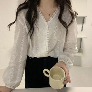 Lace V-neck Long-sleeve Shirt Cream - One Size