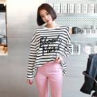 Printed Striped Cotton T-shirt