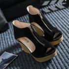 Front Zip Wedge Sandals