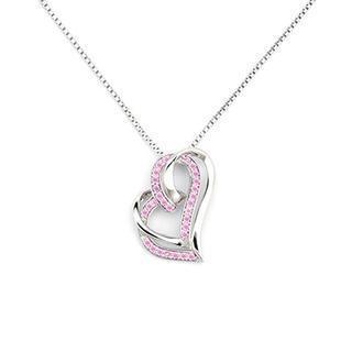 ?tender Love?925 Silver Pink Cz Heart Necklace, Women Jewelry Gift