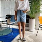 Fray-hem Wide Denim Shorts