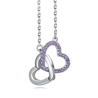 Together Heart-shaped Necklace- 925 Sterling Silver Purple Cz Necklace