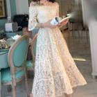 Off Shoulder Short-sleeve Midi Lace Dress