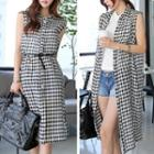 Gingham Sleeveless Shirtdress