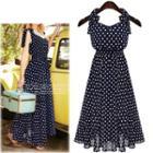 Dotted Sleeveless Chiffon Dress