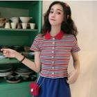 Short-sleeve Striped Buttoned Cropped Knit Top
