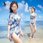 Set : Print Cutout Swimsuit + Cover-up