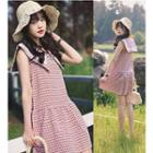 Plaid Sleeveless Sailor Collar Dress