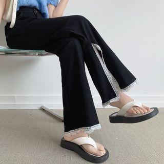 Lace Trim Slit Wide-leg Pants