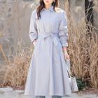 Hidden-button Long Trench Coat With Sash