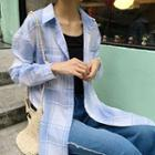 Plaid Long-sleeve Long Blouse