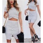 Set: Short-sleeve Cropped Top + Skirt
