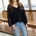 Lace-panel Loose-fit Blouse Black - One Size