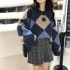 Diamond Sweater / Mini A-line Pleated Plaid Skirt