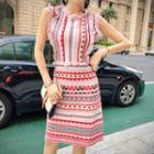 Patterned Sleeveless Knit A-line Dress