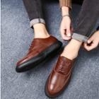 Genuine-leather Stitched Panel Oxfords