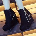 Fleece-lined Platform Ankle Boots
