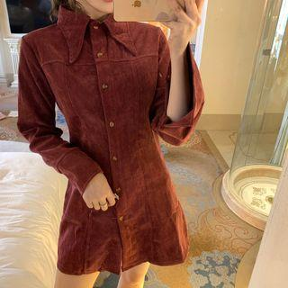 Corduroy Long-sleeve Slim-fit Dress Wine Red - One Size