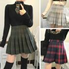 Check Woolen Pleated Skirt