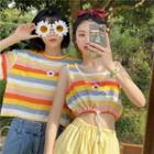 Short-sleeve Striped T-shirt / Sleeveless Cropped Striped Top