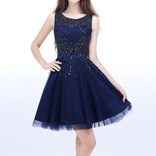 Sleeveless Sequined Mini Prom Dress