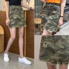 Belted Distressed Camouflage Miniskirt