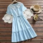 Lace Panel Short-sleeve Midi A-line Denim Dress