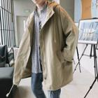 Drawstring Long Hooded Jacket