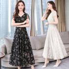 Floral Short-sleeve Maxi Lace Dress