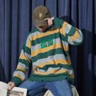 Lettering Frayed Stripe Sweater