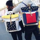Print Roll Top Canvas Backpack