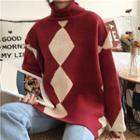 Color-block Turtle-neck Loose-fit Sweater
