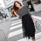 Striped Mesh-panel A-line Dress