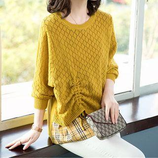 Mock Two-piece Drawstring Pointelle Knit Top Yellow - One Size