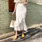Ruffle-trim Laced Skirt